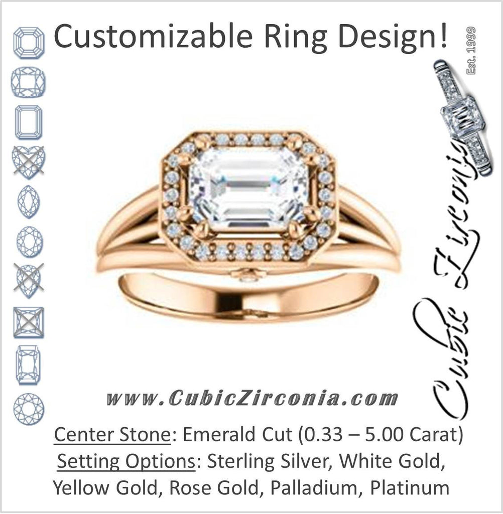 Cubic Zirconia Engagement Ring- The Wanda Lea (Customizable Emerald Cut Halo-style with Ultrawide Tri-split Band & Peekaboo Accents)