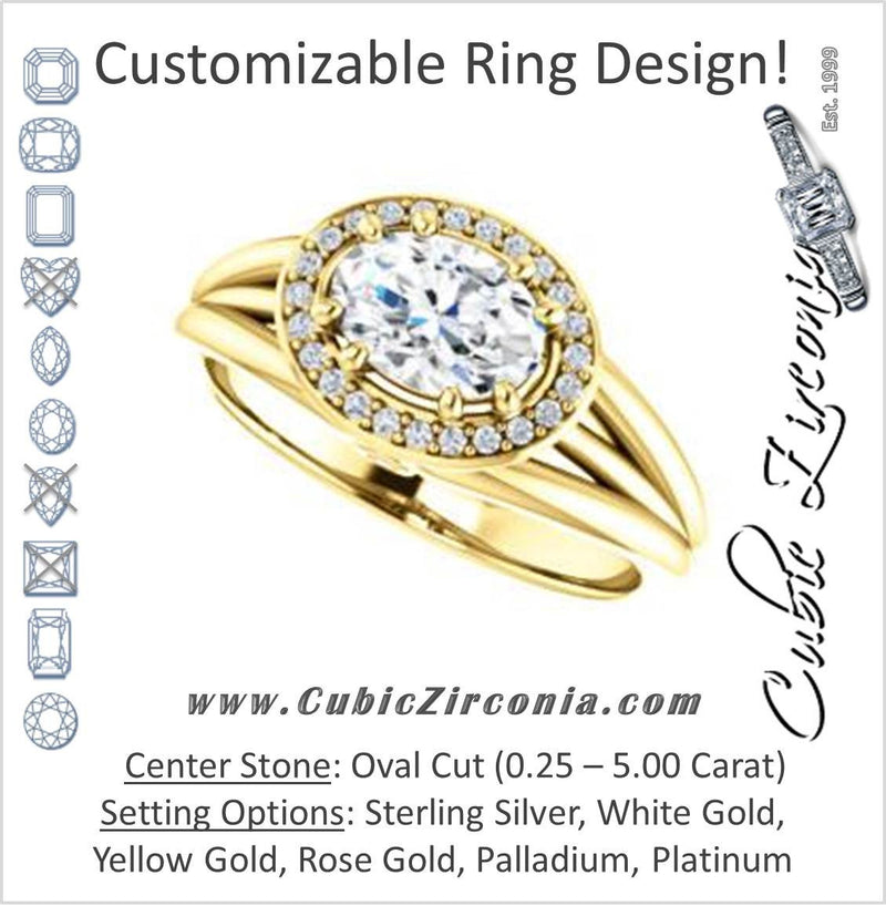 Cubic Zirconia Engagement Ring- The Wanda Lea (Customizable Oval Cut Halo-style with Ultrawide Tri-split Band & Peekaboo Accents)