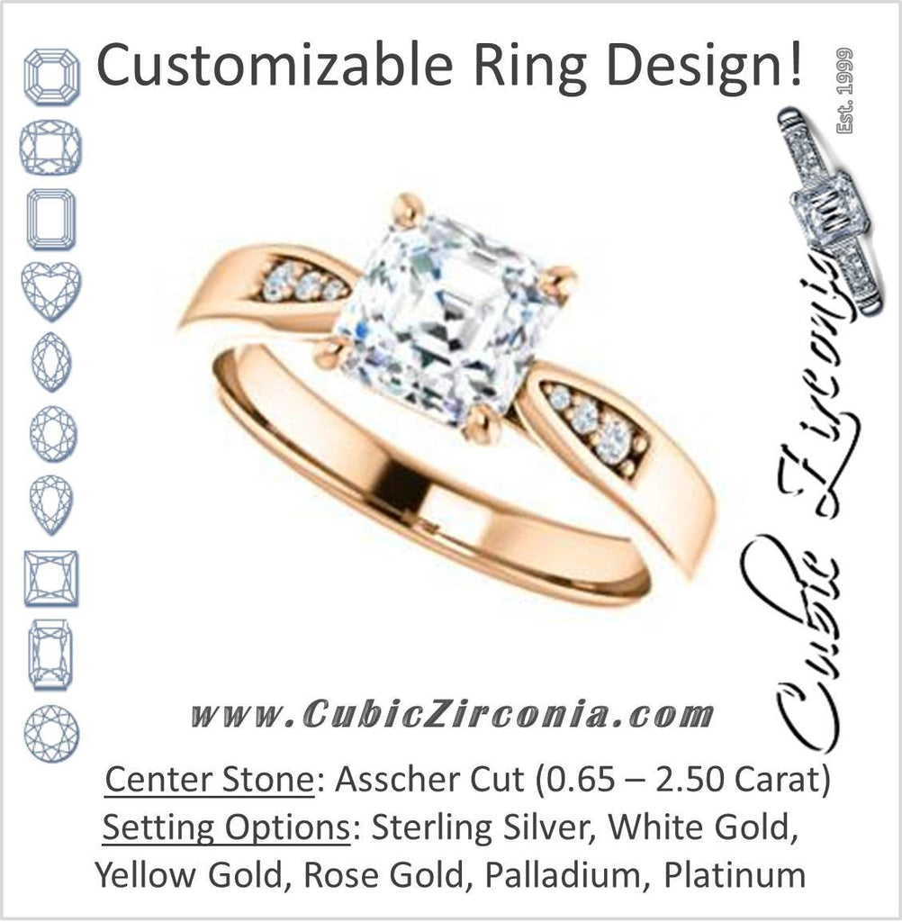Cubic Zirconia Engagement Ring- The Ximena (Customizable Cathedral-Set Asscher Cut 7-stone Design)