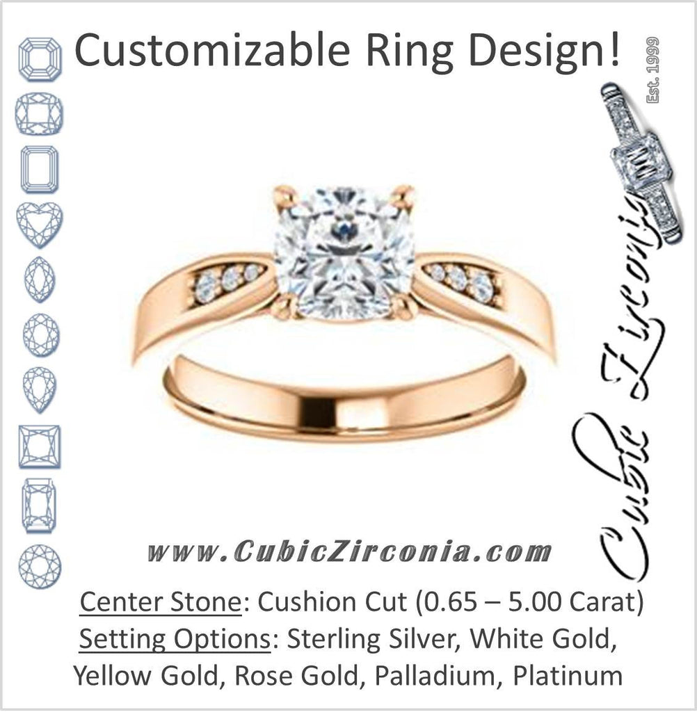 Cubic Zirconia Engagement Ring- The Ximena (Customizable Cathedral-Set Cushion Cut 7-stone Design)