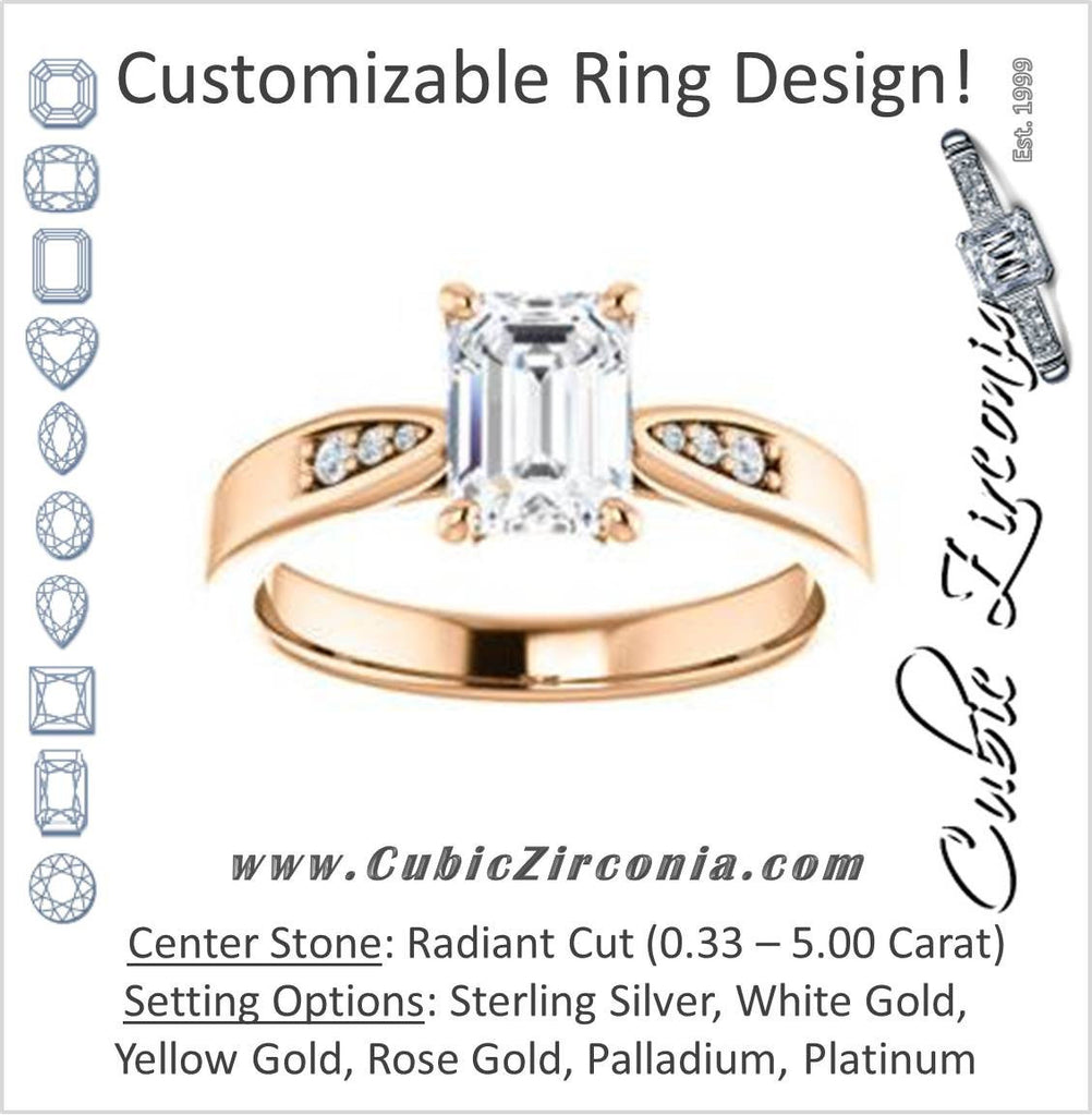 Cubic Zirconia Engagement Ring- The Ximena (Customizable Cathedral-Set Radiant Cut 7-stone Design)