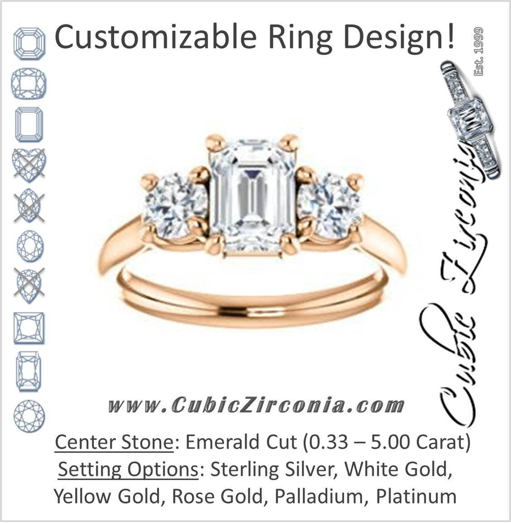 Cubic Zirconia Engagement Ring- The Yolonda (Customizable 3-stone Cathedral-set Design with Emerald Cut Center and Round Cut Accents)