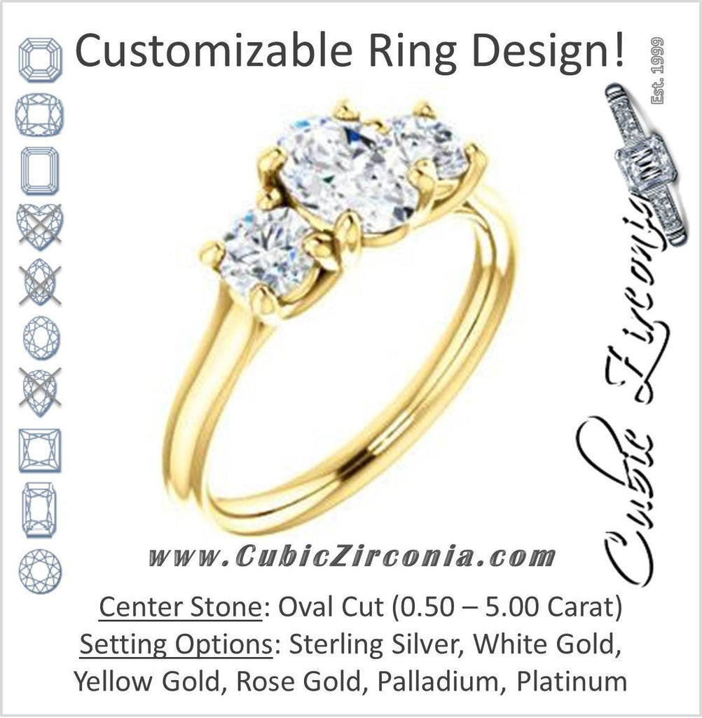 Cubic Zirconia Engagement Ring- The Yolonda (Customizable 3-stone Cathedral-set Design with Oval Cut Center and Round Cut Accents)