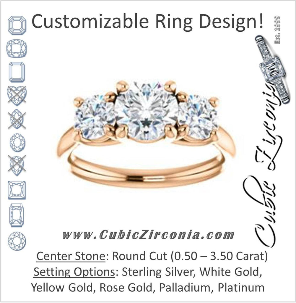 Cubic Zirconia Engagement Ring- The Yolonda (Customizable 3-stone Cathedral-set Design with Round Cut Center and Round Cut Accents)