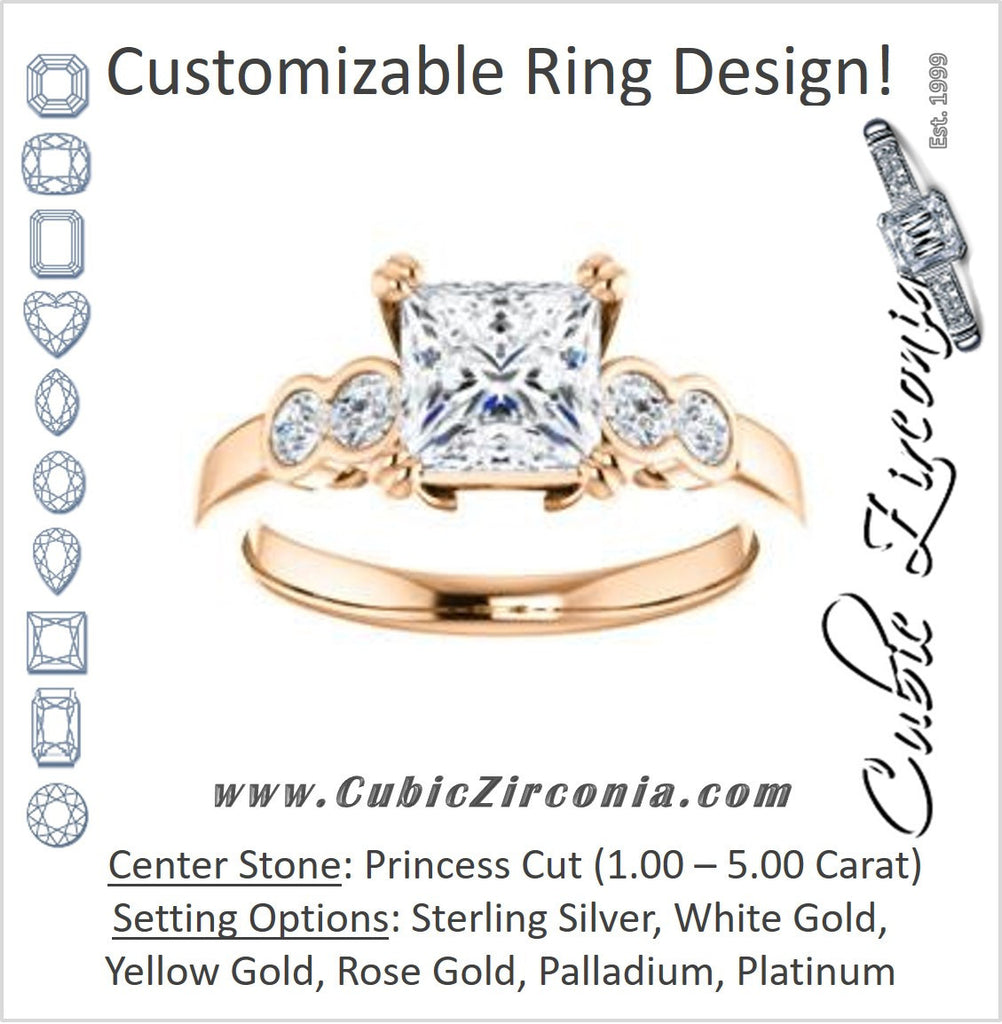 Cubic Zirconia Engagement Ring- The Yucsin (Customizable Princess Cut Five-stone Design with Round Bezel Accents)