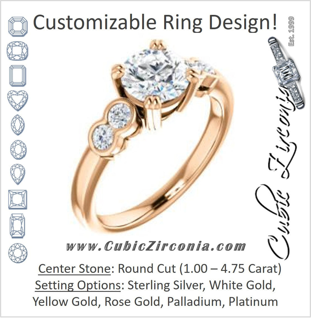 Cubic Zirconia Engagement Ring- The Yucsin (Customizable Round Cut Five-stone Design with Round Bezel Accents)