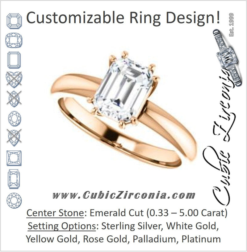 Cubic Zirconia Engagement Ring- The Ziitlaly (Customizable Emerald Cut Solitaire with High Basket)