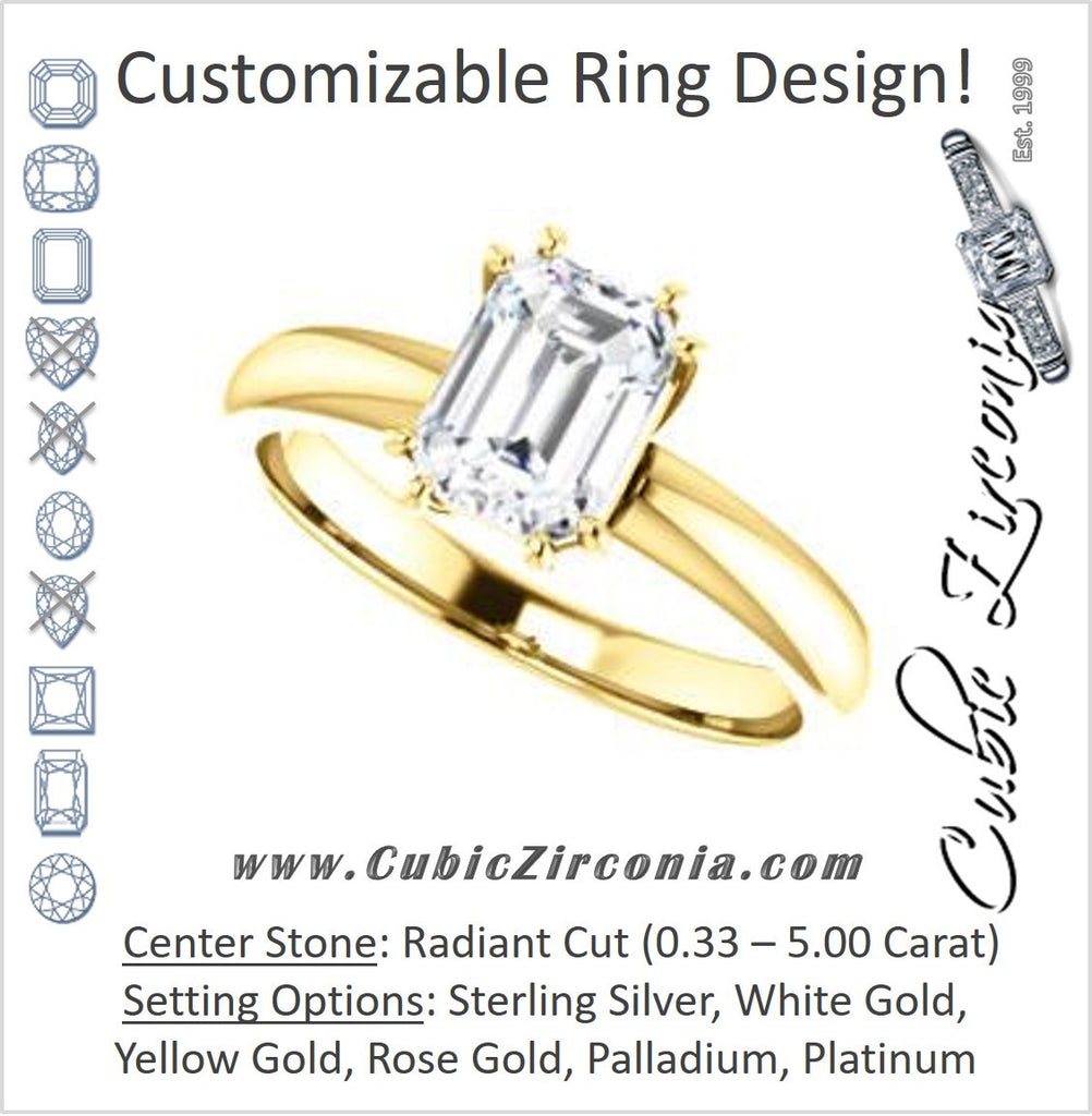 Cubic Zirconia Engagement Ring- The Ziitlaly (Customizable Radiant Cut Solitaire with High Basket)