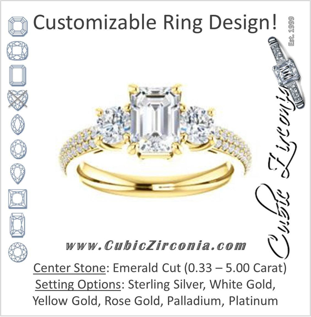 Cubic Zirconia Engagement Ring- The Zuleyma (Customizable Enhanced 3-stone Emerald Cut Design with Triple Pavé Band)