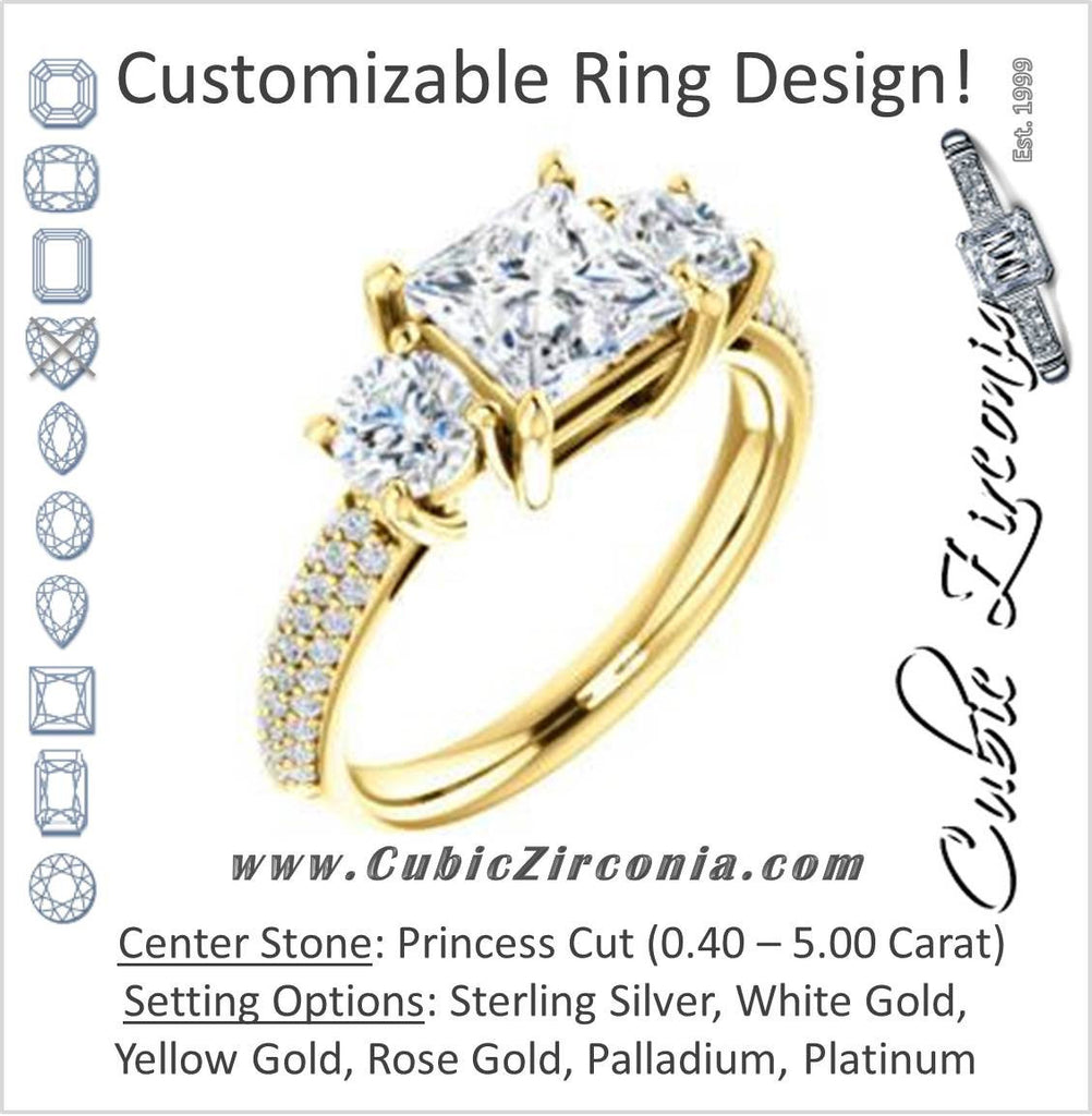 Cubic Zirconia Engagement Ring- The Zuleyma (Customizable Enhanced 3-stone Princess Cut Design with Triple Pavé Band)