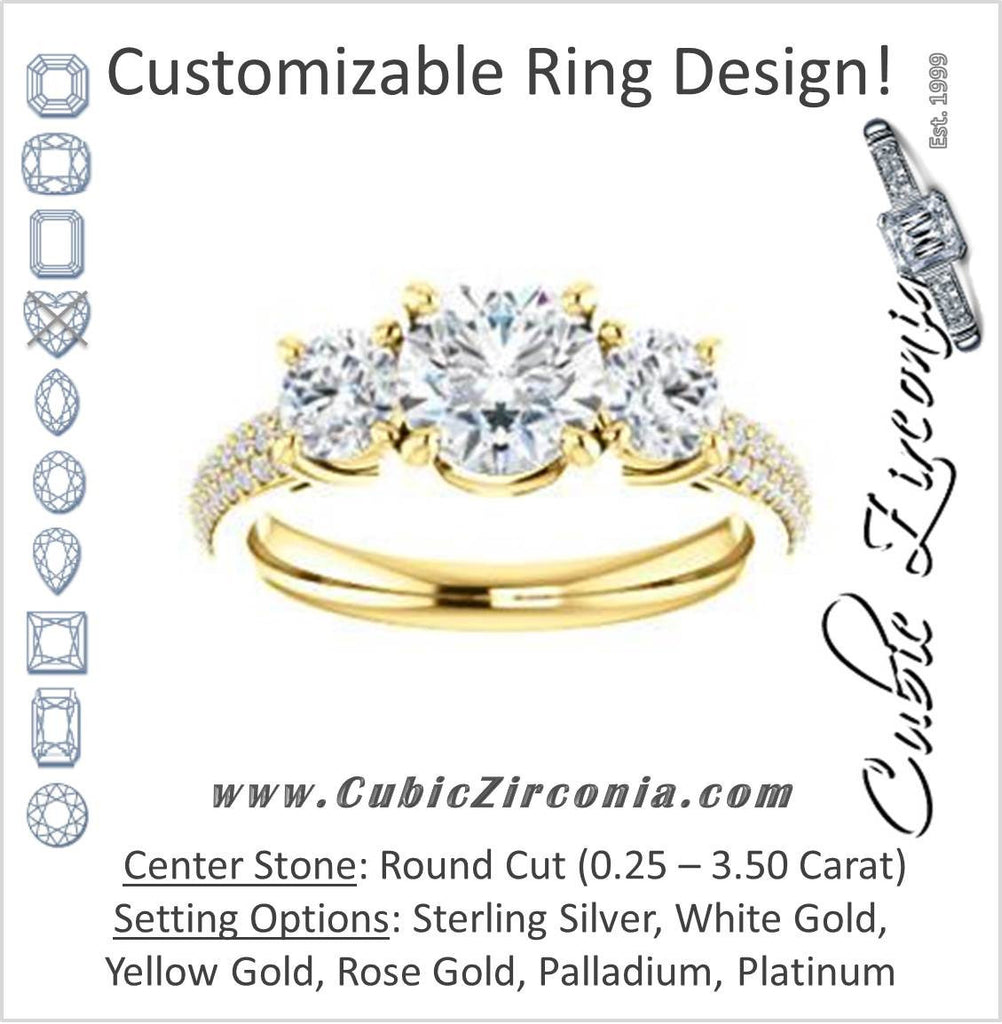 Cubic Zirconia Engagement Ring- The Zuleyma (Customizable Enhanced 3-stone Round Cut Design with Triple Pavé Band)
