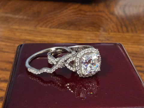 CZ Wedding Set-*Clearance* The Benita (2.50 Carat Cushion Cut with Infinity Split-band Pavé and Halo in 10K White Gold)