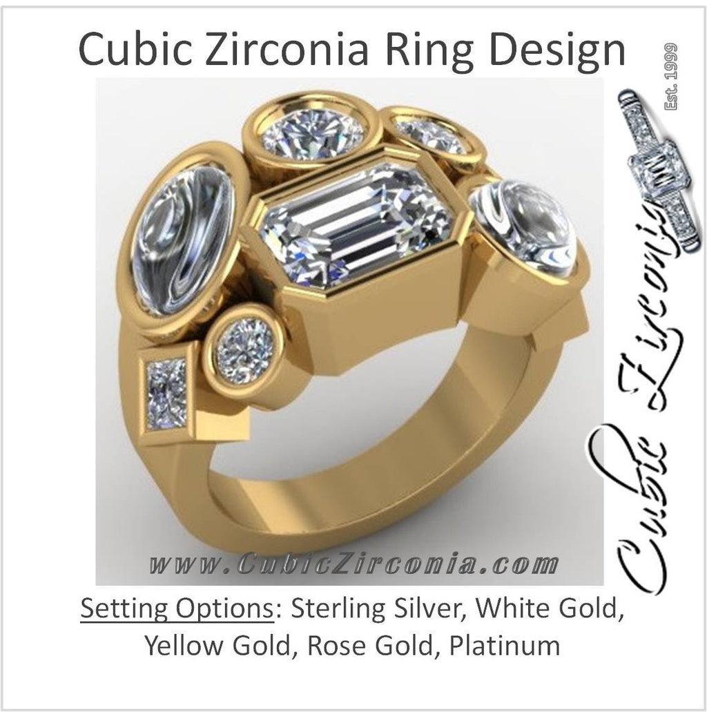 Cubic Zirconia Cocktail Ring- Multi-Stone CZ Bezel Set Cabochon
