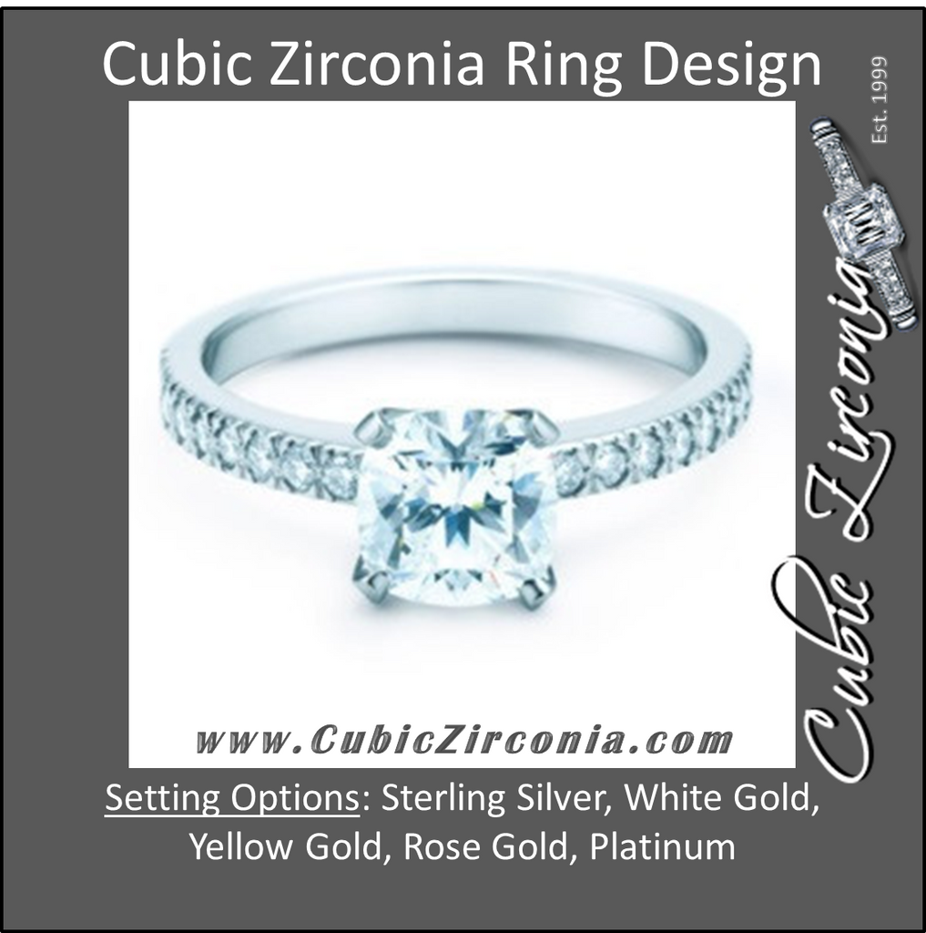 Cubic Zirconia Engagement Ring- The Tien (2 CT Cushion Cut)