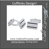 Men's Cufflinks- Sterling Silver Rectangle with Black Resin Inlay Details