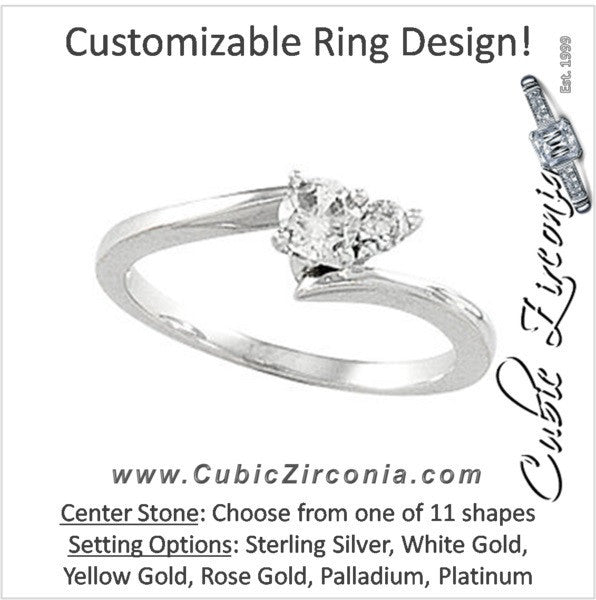 Cubic Zirconia Engagement Ring- The Shamika (Customizable 2-stone Solitaire with Petite Round Accent)