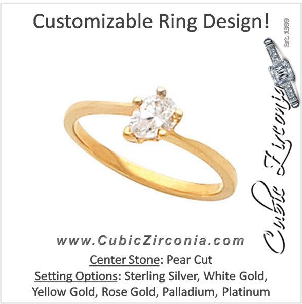 Cubic Zirconia Engagement Ring- The Shannon (Pear Cut Bypass Solitaire)