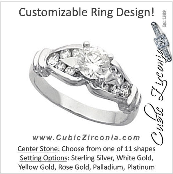 Cubic Zirconia Engagement Ring- The Sonja (Customizable Vintage 11-stone Channel Design with Ribbed Metal Band)