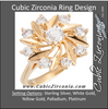 "Cubic Zirconia Engagement Ring- The Shania (0.81 CTW ""Sunflower""-inspired 8-Stone Cluster-Style)"