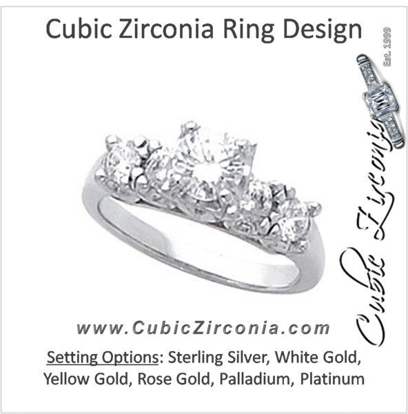 Cubic Zirconia Engagement Ring- The Roxy (0.25 or 0.5 Carat Round-cut 5-stone Design)