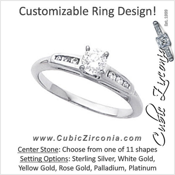 Cubic Zirconia Engagement Ring- The Esmeralda (Customizable 7-stone with Petite Channel Band)