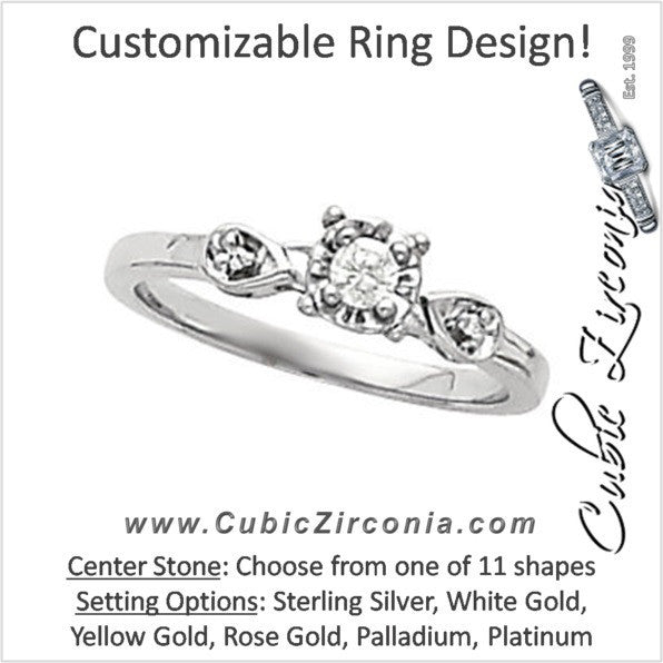 Cubic Zirconia Engagement Ring- The Ariana (Customizable Petite 3-stone with Filigree)