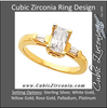 Cubic Zirconia Engagement Ring- The Robin (1 Carat Emerald-Cut with Baguette Accents)