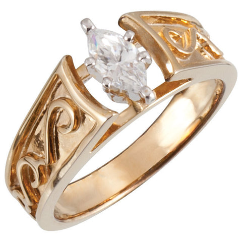 Cubic Zirconia Engagement Ring- The Jaclyn (0.25 CT Customizable Setting Cathedral-Style Solitaire with Scroll Design)