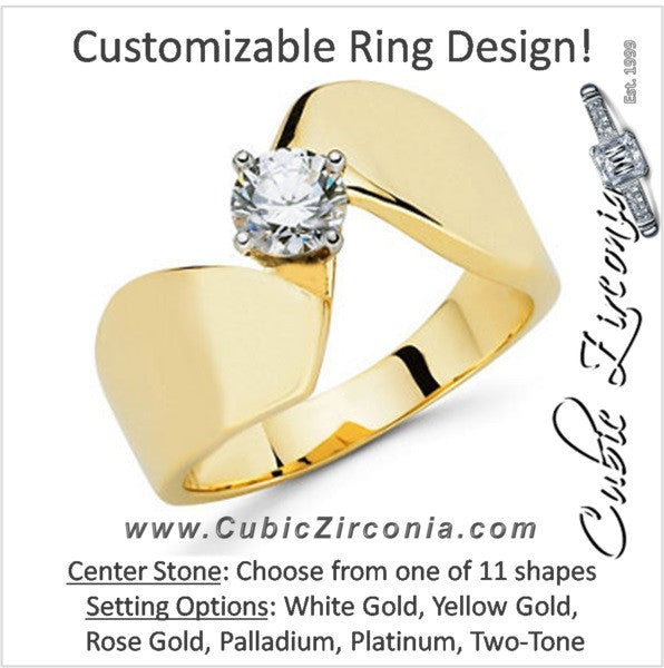 Cubic Zirconia Engagement Ring- The Shanna (Customizable Solitaire with Brilliant Twist Band)