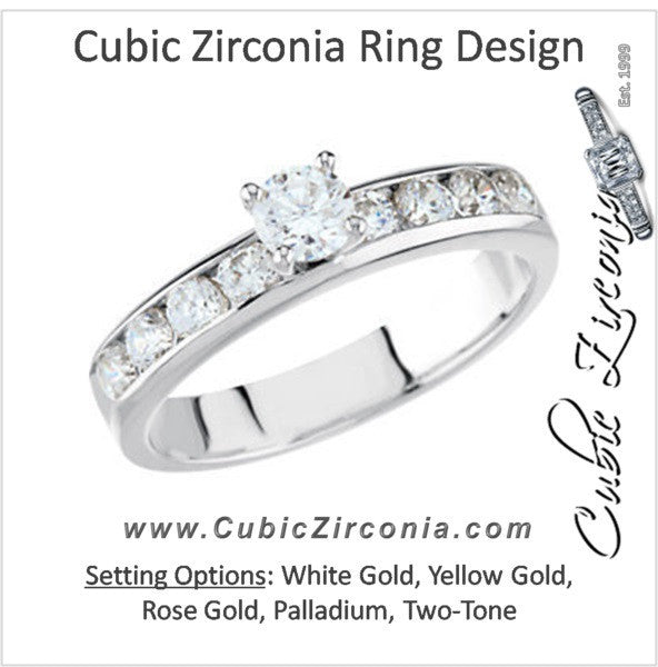 Cubic Zirconia Engagement Ring- The Norah (0.65 Carat TCW 9-stone Round Channel)