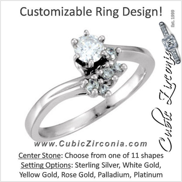 Cubic Zirconia Engagement Ring- The Leia (Customizable 6-stone Cluster Style with Artisan Bypass)