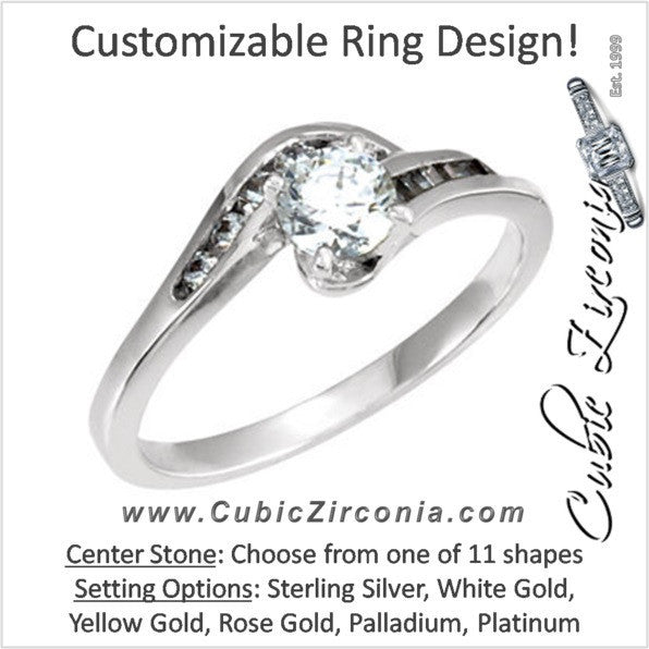 Cubic Zirconia Engagement Ring- The Deirdre (Customizable 12-stone Bypass with Round and Baguette Channel)