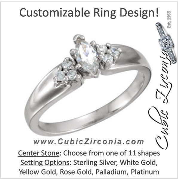 Cubic Zirconia Engagement Ring- The Natalia (Customizable 7-stone)