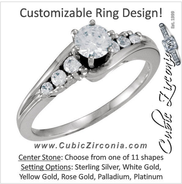 Cubic Zirconia Engagement Ring- The Tracey (Customizable 7-stone Channel Bypass)
