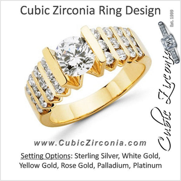Cubic Zirconia Engagement Ring- The Crystalle (1.72 Carat Round-Cut with Quad Rows of Tri-Channel Accents)