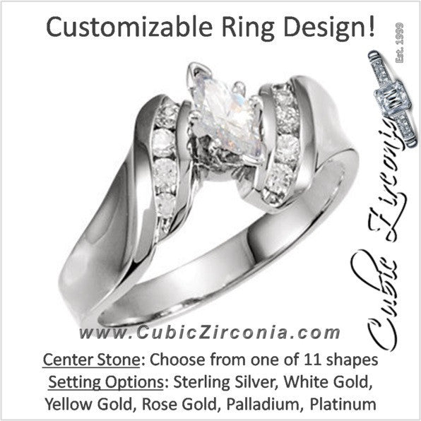 Cubic Zirconia Engagement Ring- The Latisha (Customizable 9-stone Artisan Style with Vertical Round Channel)