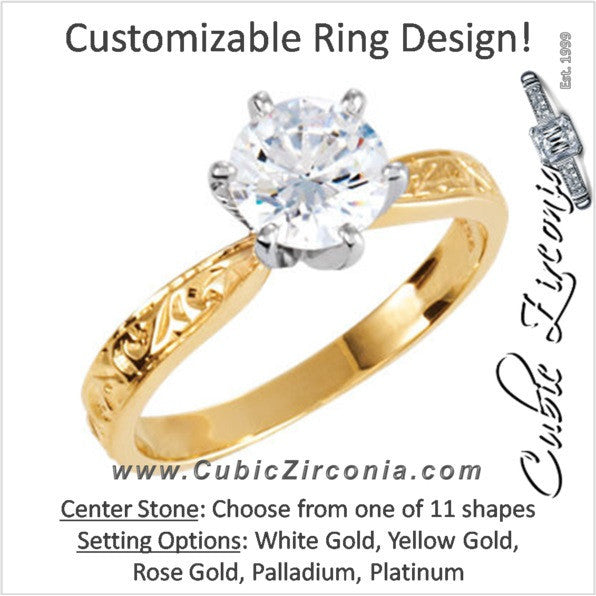 Cubic Zirconia Engagement Ring- The ________ Naming Rights 120-187 (Solitaire with Hand-Engraved Band)
