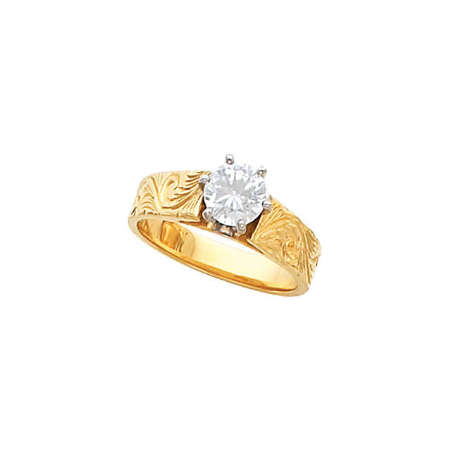 Cubic Zirconia Engagement Ring- The Adrienne (Customizable Solitaire with Hand-Engraved Band)