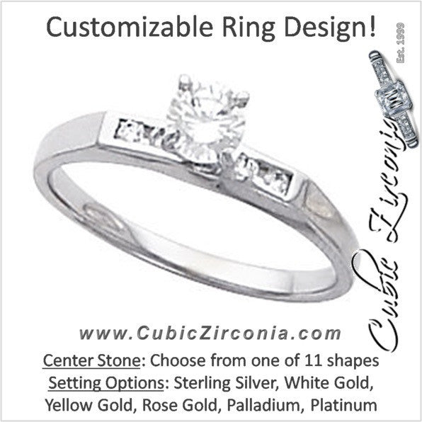 Cubic Zirconia Engagement Ring- The Elisha (Customizable 5-stone Petite Channel)