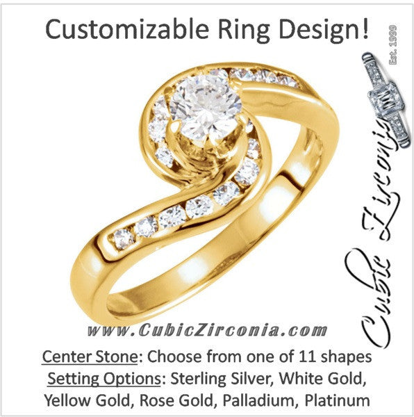 Cubic Zirconia Engagement Ring- The Rachel (Flowing Bypass Style with Customizable Center)