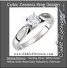 Cubic Zirconia Engagement Ring- The Trish (0.36 Carat Round Cathedral-Style Solitaire)