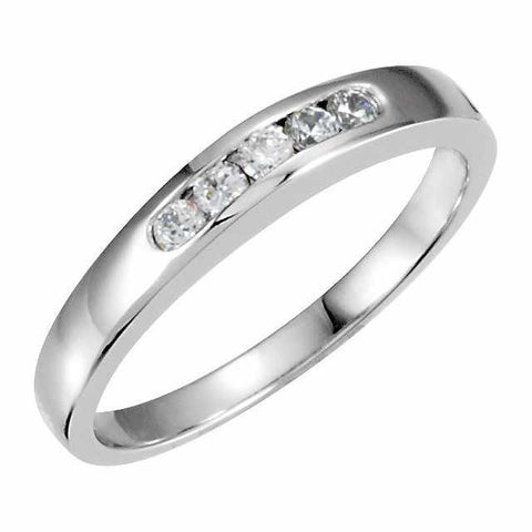 Cubic Zirconia Anniversary Ring Band, Style 120-22 (0.15 TCW Round Channel)