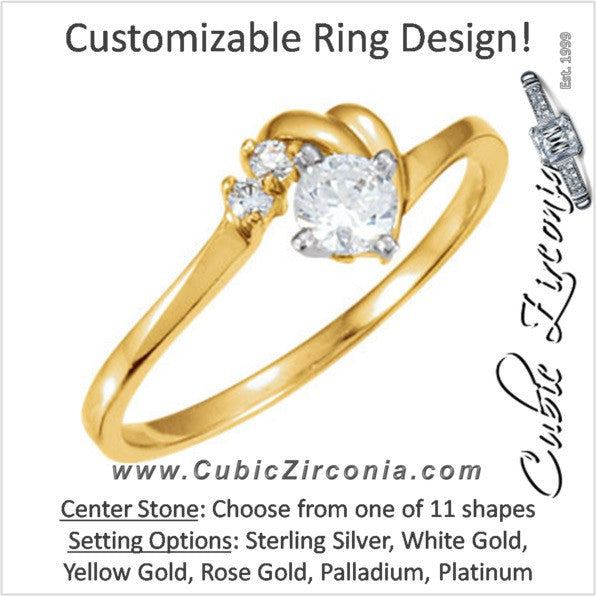 Cubic Zirconia Engagement Ring- The Brenna (Customizable 3-stone with Love Knots Artisan Band)