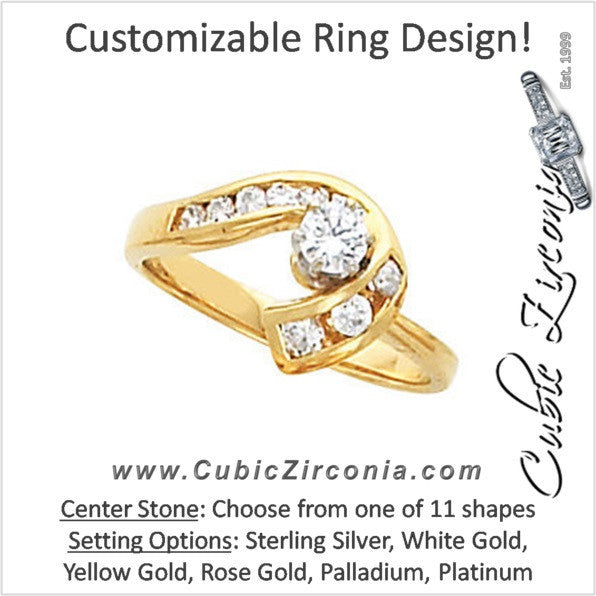 Cubic Zirconia Engagement Ring- The Brandie (Customizable 10-stone with Round Channel and Horseshoe Motif)