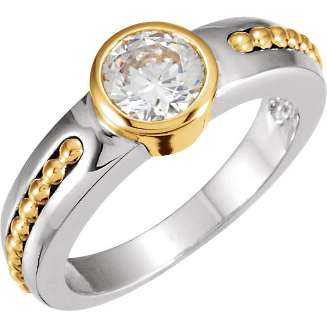Cubic Zirconia Engagement Ring- The Stefanie (Bezel-Style Solitaire with Beaded Channel)