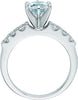 Cubic Zirconia Engagement Ring- The Lillian (Customizable 7-stone with Round Bar-Channel Accents)