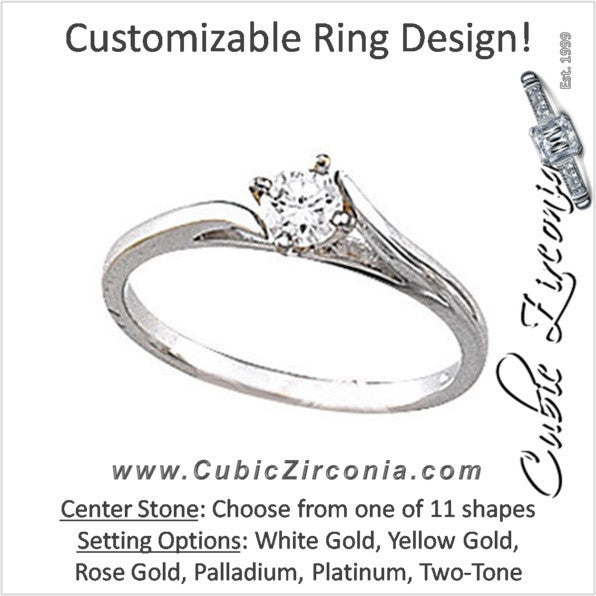 Cubic Zirconia Engagement Ring- The Dell (Customizable Cathedral Bypass Solitaire)