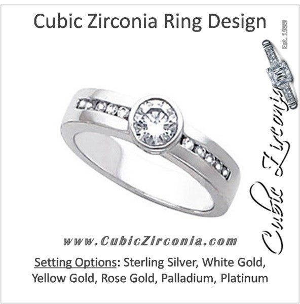 Cubic Zirconia Engagement Ring- The Meredith (0.5 Carat Round Bezel-Style with Channel-Set Accents)