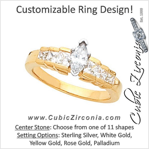 Cubic Zirconia Engagement Ring- The Arlene (Customizable 7-stone with Stairstep Princess Channel Accents)