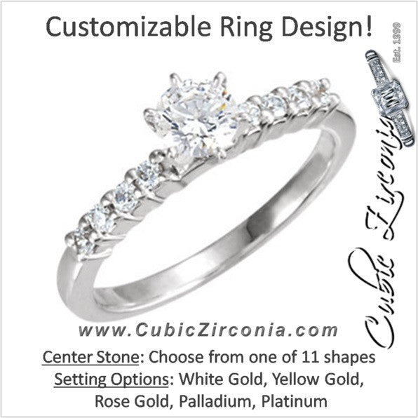 Cubic Zirconia Engagement Ring- The Bobbie (Customizable 9-stone with Round Accents and Thin Band)
